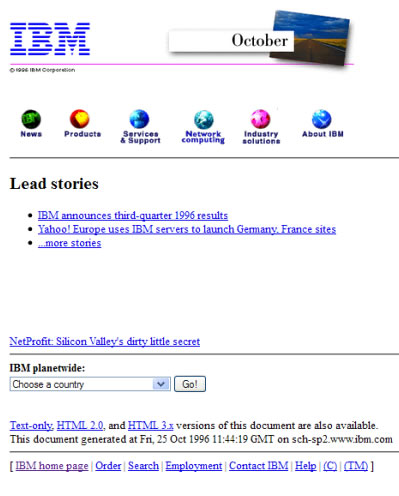 web de IBM en 1996