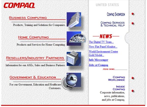 web de Compaq en 1997
