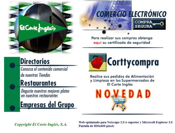 Web de El Corte Ingles en 1997