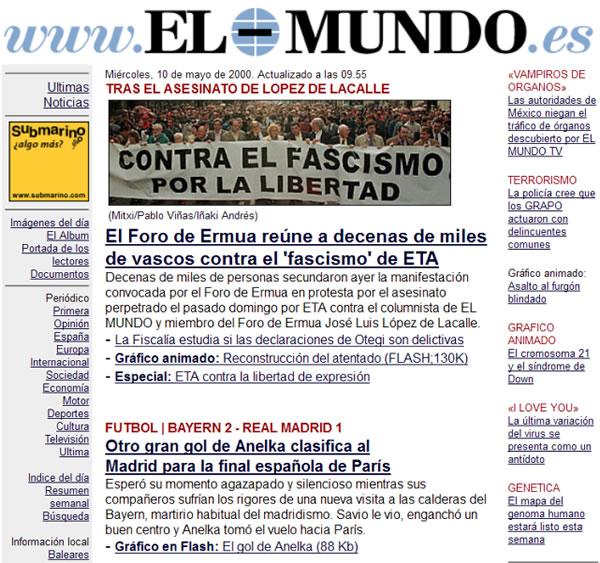 web de El Mundo en el año 2000