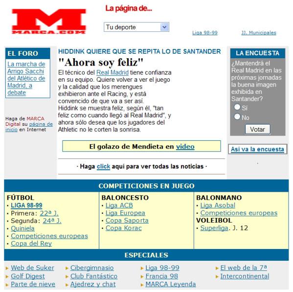 web periódico Marca en 1999