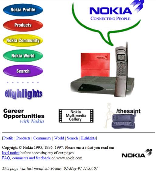 Web de Nokia en 1997